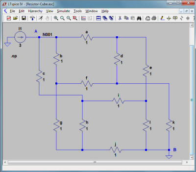 RF Cafe - Resistor Cube Solution, LTSpice analysis
