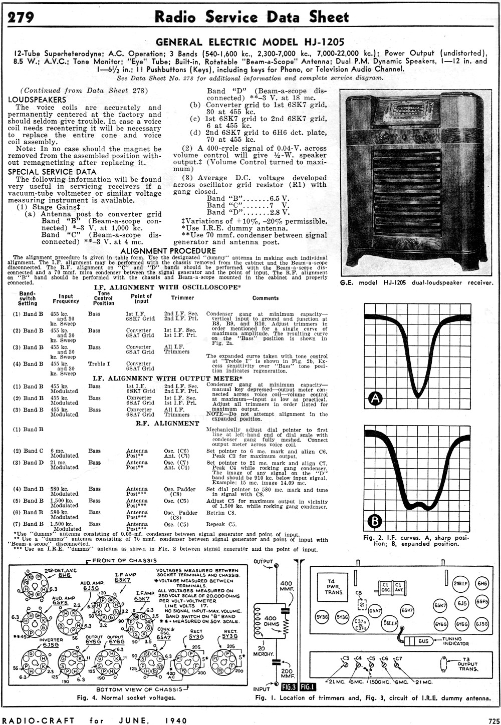 General Electric Model Hj 1205 Radio Service Data Sheet