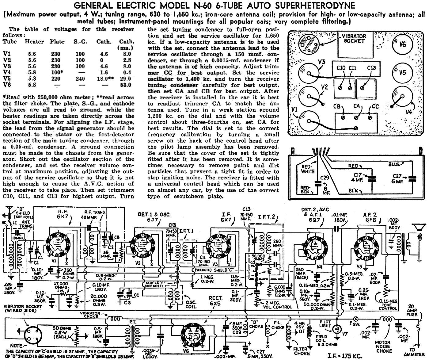 General Electric Model N 60 6 Tube Auto Superheterodyne