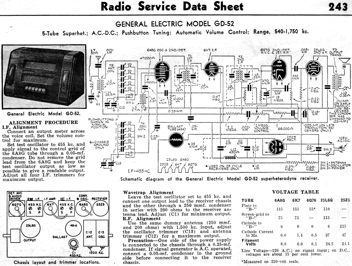 general electric model gd-52 radio service data sheet  january 1939 radio-craft