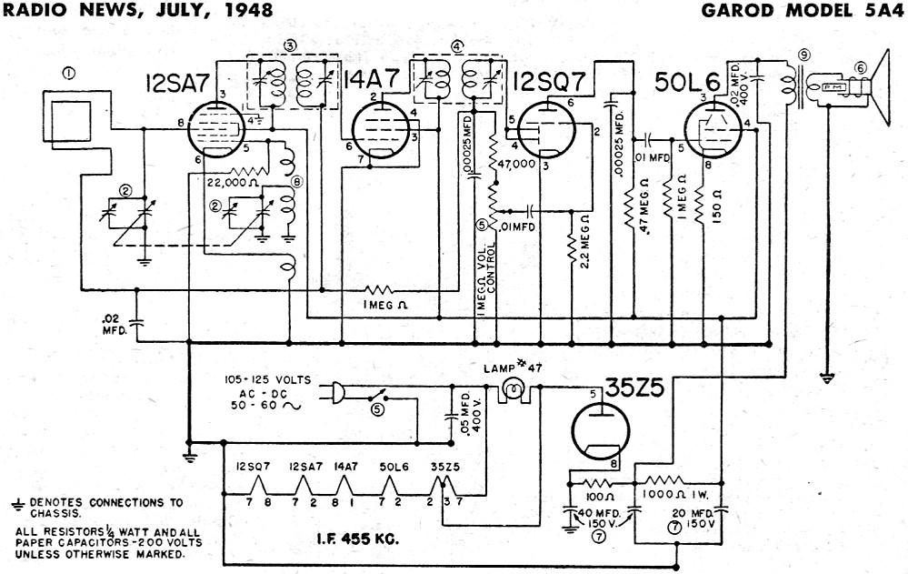 garod model 5a4 schematic  u0026 parts list  july 1948 radio