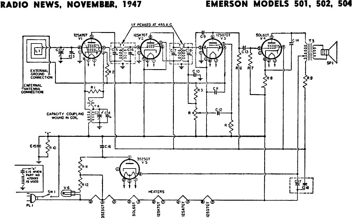 Emerson Models 501  502  504 Schematic  U0026 Parts List  November 1947 Radio News