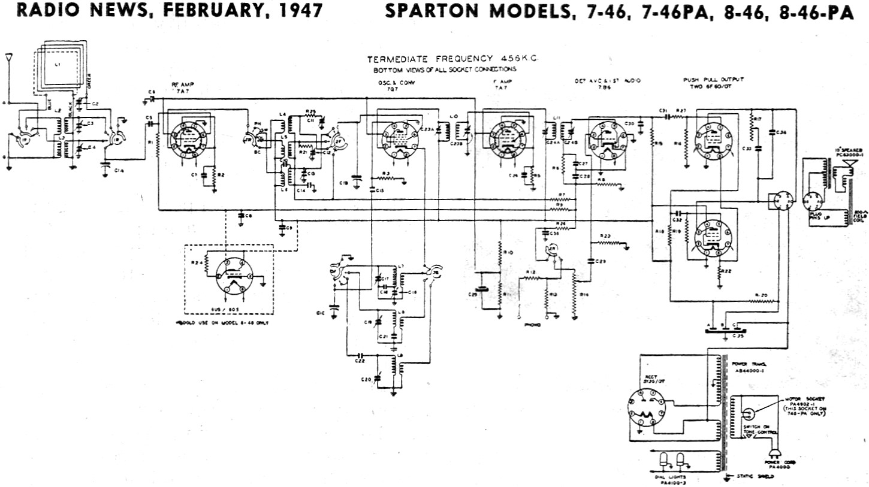 Sparton Models 7-46  7-46pa  8-46  8-46pa Schematic  U0026 Parts List  February 1947 Radio News